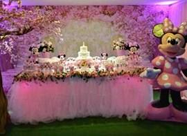 Tela 3d, grama, flores, cerejeira, Minnie, bolo 3 andares opcionais